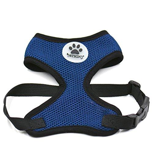 Dog Soft Mesh Walking Collar Pet Puppy Collars Strap Vest Apparel Safety Dog Training Breathable Harness Vest (XS, blue) -