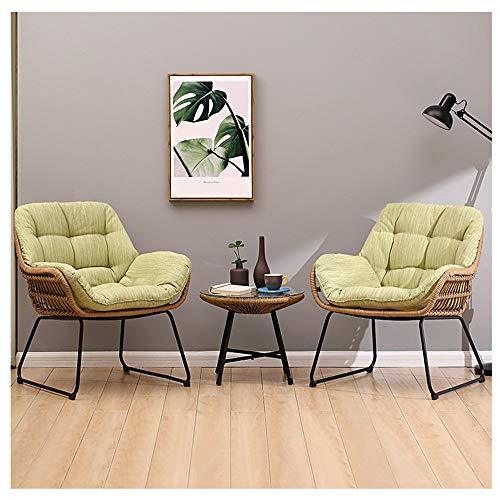 Light Green Lazy Couch Tatami Comfortable Rattan Chair Bedroom Balcony Nap Leisure Small Sofa can be Combined with 69.5×71.5cm (Size : B(2sofa+Small Coffee Table))