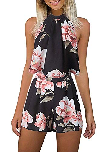 (Fadalo Women's Floral Printed Summer Dress Romper Jumpsuits Sleeveless Playsuit 2 Piece Outfits (X-Large, Pink Flower))
