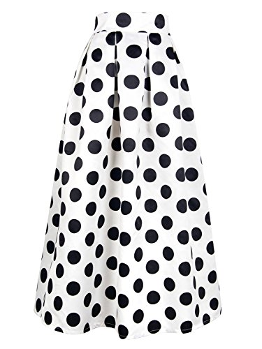 Choies Women's High Waist Elastic Wasit Casual Polka Dot Print Long Maxi Skirt 3X