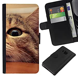 BearCase / Cuero de la tarjeta la carpeta del tirón Smartphone Slots Protección Holder /// HTC One M7 /// Mestizo Americano de Pelo Corto Manx Cat Eye