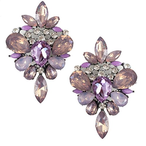 Very Large Art Deco Antique Vintage Style Lavender Purple Amethyst Rhinestone Bridal Bridesmaid Wedding Prom Pageant Statement Cluster Earrings