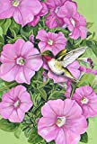 Toland Home Garden Hummingbird and Petunias 28 x 40 Inch Decorative Pink Spring Flower Flying Bird House Flag