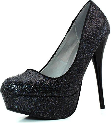 Women's Candy Platform Pumps Almond Toe Color  Black Gl, 7.5 ()