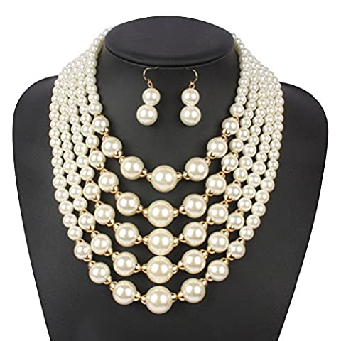 Statement Necklace, SUMAJU Multi Strand 5 Layers Simulated Pearl Statement Necklace Earrings Set (Multi Strand Statement Necklace)
