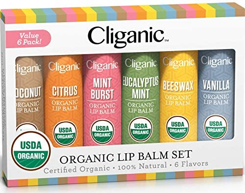 Cliganic USDA Organic Lip Balm Set – 6 Flavors – 100% Natural Moisturizer for Cracked & Dry Lips