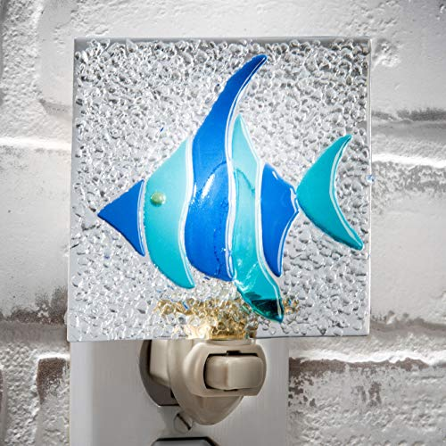 (Decorative Night Light Blue Fish Beach Tropical Beach House Home Decor Wall Plug in Nightlight for Hallway, Bedroom, Bathroom, Kitchen J Devlin NTL 208)