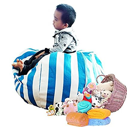 Stuffed Animal Storage Bean Bag Chair 8 petals 31 80cm (Blue) Univegrow