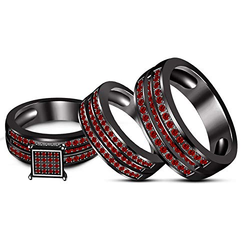 ArtLine Jewels Engagement Wedding Ruby Red & Simulated Diamond Studded Black Gold Fn Couple Trio Ring Set -