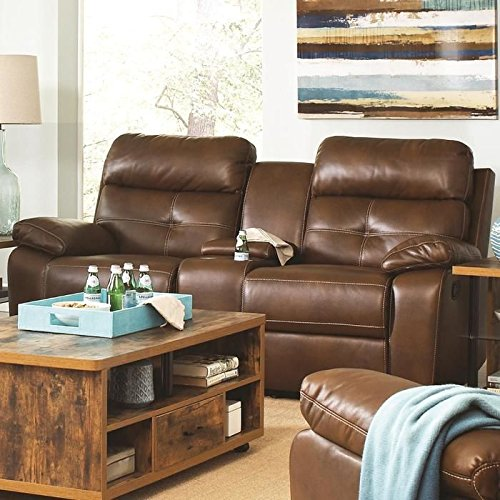Coaster 601692 Home Furnishings Motion Love Seat, Brown