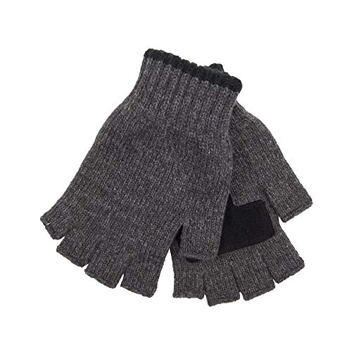 Levi's Men's Heathered Knit Fingerless Gloves, Charcoal Mix, One Size