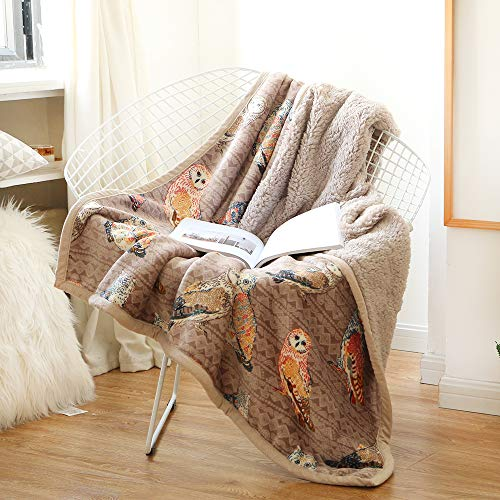 Lamberia Sherpa Flannel Fleece Reversible Throw Blanket - Extra Soft Plush Fabric - Super Warm Lightweight Bed Couch Blankets (Owl, 50