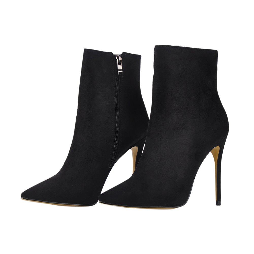 onlymaker Pointed Toe Ankle Boots for Women Heels Side Zipper Dress High Heels Women Shoes Booties B076Q4KTKR 11 B(M) US|Black 96c1d9