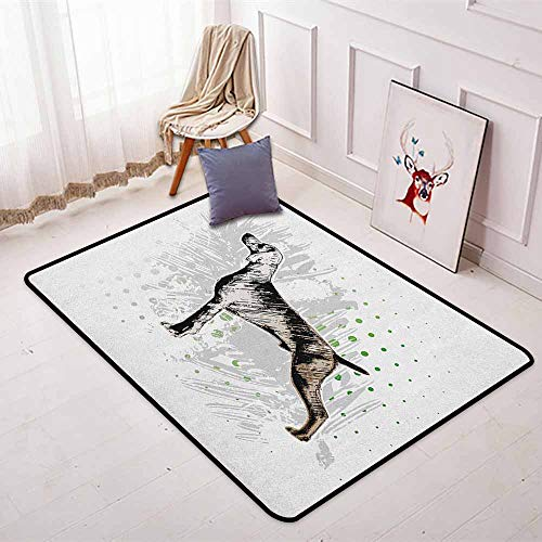 Hunting Multifunction Sketch of The Weimaraner Dog Canine on Grungy Abstract Design Background Non-Sliding Indoor Carpet W35.4 x L47.2 Inch Black Grey Green