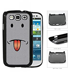 Emoji Smiley Face With Tongue Out Gray Diamond Hard Plastic Snap On Cell Phone Case Samsung Galaxy S3 SIII I9300
