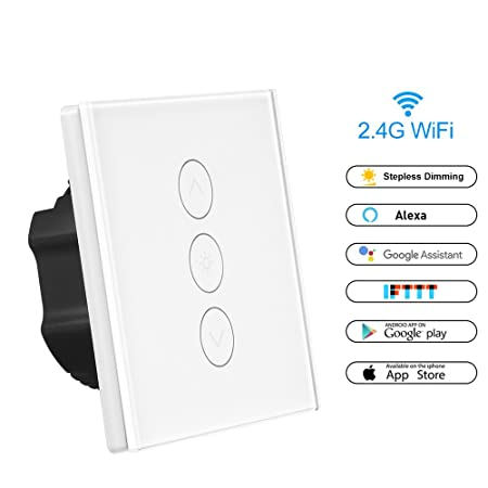 Smart WiFi Dimmer Switch, Konesky LED Light Switch 1 Gang Touch Control  Switch Work with Alexa/Google Home/IFTTT, iOS Android App Remote Control  and