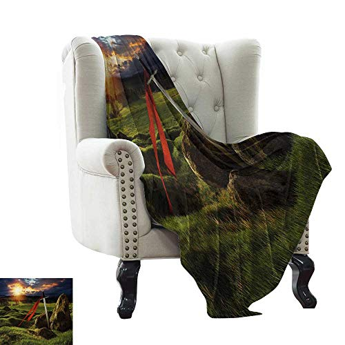 Davishouse Living Room/Bedroom Warm Blanket Arthur Camelot Legend Myth in England Ireland Fields Invincible Myth Image All Season Premium Bed Blanket 30