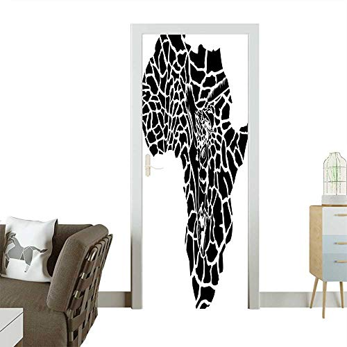 - Door Sticker Wall Decals Illustration of Africa Continent Map As A Animal Skin Wilderness Species Art Print Easy to Peel and StickW23 x H70 INCH