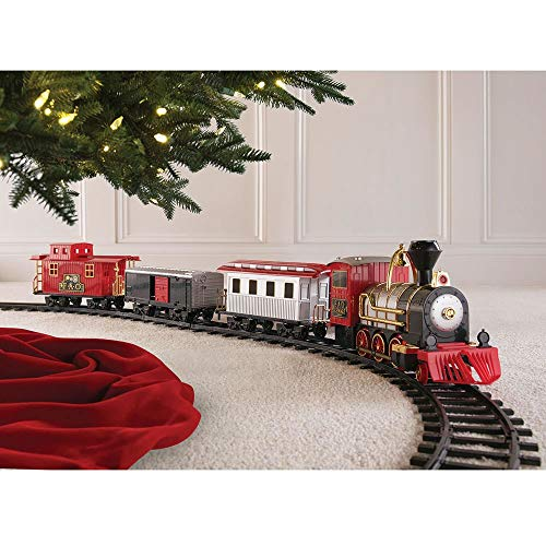 Classic Motorized Train Set, Complete Toy Set with Engine, Cargo, 18' of Modular Tracks, Red/ Black, Pack of 30 ()