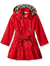 Pink Platinum Little Girls Classic Trench Jacket with Satin Lining, Red, 2T