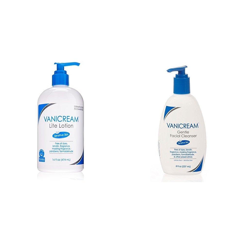 Vanicream Lite Lotion 16 oz & Vanicream Gentle Facial Cleanser for sensitive skin 8 oz by Vanicream