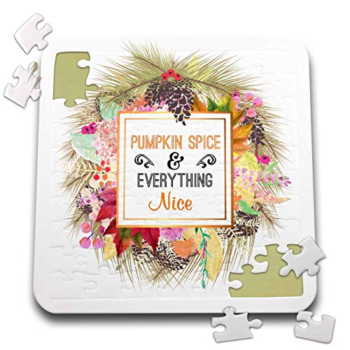 3dRose InspirationzStore - Occasions - Pumpkin Spice and Everything Nice Autumn Fall Leaves Pine Cone Wreath - 10x10 Inch Puzzle (pzl_317295_2) -