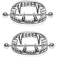 Nipplerings Piercing Women, Kredy 2pcs Stainless Steel Vampire Teeth Nipple Rings Body Piercing Jewelry