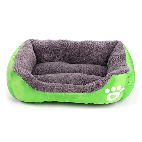 HEEGNPD Kennel Soft Washable Hardwearing Footprint Footprint Cotton Wool pet Bed Candy Colors Square Mat pet Supplies,Green,XL