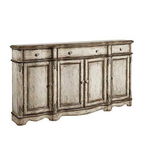 Sofaweb.com Hand Painted Distressed Weathered Beige Finish Console (Hand Painted Console Cabinet)