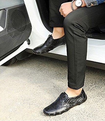 para Moda Zapatos nuevos Pulpo Perezoso Cuero de del Ocasionales Guisantes de Hombres Conducción Hombres de 2018 de Negro Zapatos los Zapatos de YwXqY5