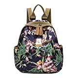 Slendima Fashion Colorful Floral Print Cool Canvas Backpack, Women Lightweight Sports Travel Bag School Bag - 4 Types