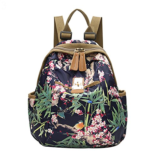 Slendima Fashion Colorful Floral Print Cool Canvas Backpack, Women Lightweight Sports Travel Bag School Bag - 4 Types by Slendima
