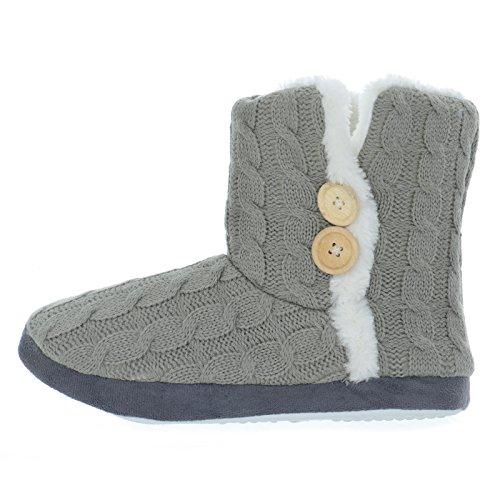 Nuevo zapatilla antideslizante Gris Cable Señoras Style dura suela Bootie con Knit cálido Invierno ApAPwx1Sq