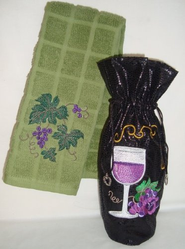 Wine Gift Bag and 14 X 24 Sage Green Bar/kitchen Towel Set