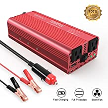 EBTOOLS Car Power Inverter, 1000W/2000W Inverter 12V DC to 110V AC Car Converter with 2 AC Outlets and 2.1A USB ports for Laptop,Smartphone,Household Appliances in case Emergency, Storm and Outage