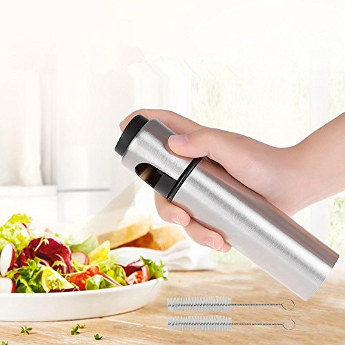 Stainless Oil Sprayer For Cooking Olive Oil Mister Olive Oil Sprayer Bottle Kitchen Cooking Oil Pump Oil Mist Sprayer Mister For Salad/ Baking/Roasting/Grilling/Frying (2 Free Brushes) NEW TYPE