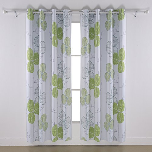 Cheap Deconovo Blackout Curtain Baby Room Leaf Printed Blackout Curtains Blackout Curtains Childrens 52 x 95 Inches Green 2 Pannels