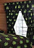 20 Lakes Pot Leaf Print Valance, Panels, Tie Backs Curtain Drape Set Five Pieces For Sale