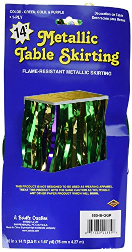 Pkgd 1-Ply FR Metallic Table Skirting (gold, green, purple) Party Accessory  (1 count) (Parade Float Skirting)