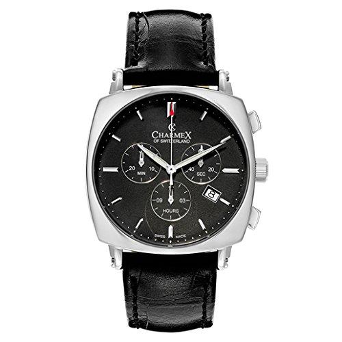 charmex vintage herren chronograph schwarz leder armband datum uhr 2426 online kaufen g nstige. Black Bedroom Furniture Sets. Home Design Ideas