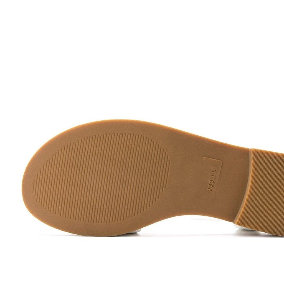 DHG Sommer Süße Sandalen, Modische Damen Hausschuhe, Casual Flache Sandalen, Heels,Weiß,36 Low-Heel Einfarbig Zehensandalen, High Heels,Weiß,36 Sandalen, - 3076fa