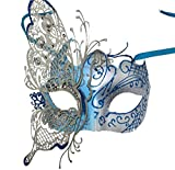 Coxeer Butterfly Laser Cut Metal Lady Masquerade Halloween Mardi Gras Party Mask