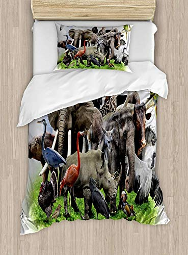 Dog Safari Wild African (VANKINE Full Bedding Sets for Boys,Africa Duvet Cover Set,Digital Collage of Wild Animals with African Safari Animals Zoo Theme Print Artwork,Include 1 Flat Sheet 1 Duvet Cover and 2 Pillow Cases)