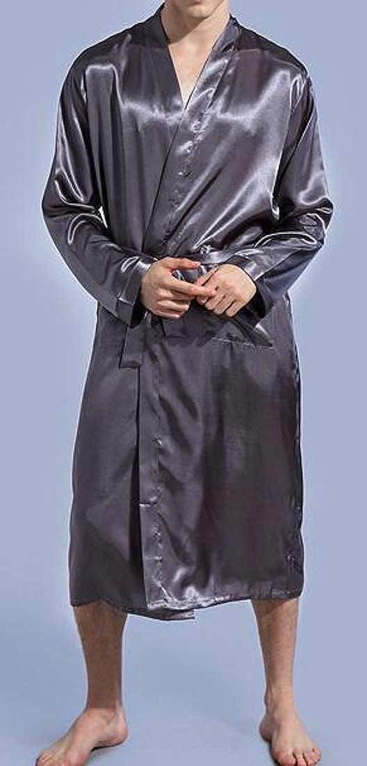 Cromoncent Men Terry Kimono Spa Pure Color Bathrobes Sleepwear Cardigan Robes