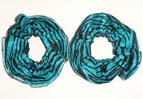 Panne Velvet Zebra Animal Print Hair Scrunchie Teal Blue Black Ponytail Holders Set of 2 Handmade by Scrunchies by Sherry