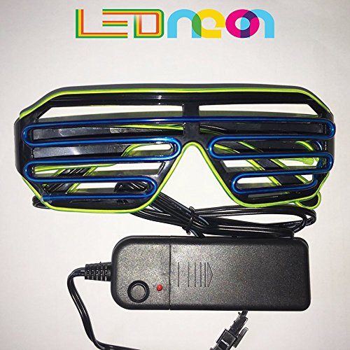 EL Wire Fashion Neon LED Glasses, Safety Light Up, Bright & Shutter Shaped Glow SunGlasses, Led Flashing Glasses, Costume Glasses For Party (Blue + Light - Sunglasses Adults Star For Shaped