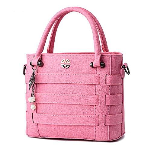 LDMB Bolsos para mujer PU cuero OL viajero ambiente mujeres en relieve Color sólido mensajero Bolsa bandolera , light gray Pink