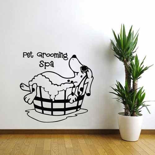 Spa Grooming - Pet Grooming Wall Decal Puppy Pet Shop Wall Decor Dog Grooming Spa Salon Vinyl Art Sticker (Black,s)
