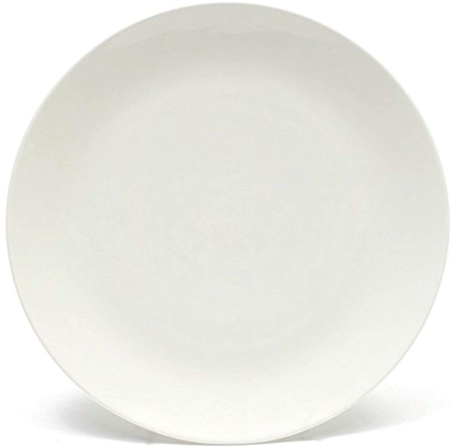 Melange Coupe 6-Piece Porcelain Dinner Plate Set | Service for 6 | Microwave, Dishwasher & Oven Safe | Dinner Plate (6 Pieces) | Color: White