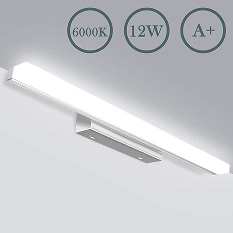 LED Spiegelleuchte - 6000K 12W 50cm 800lM Badezimmer Lampe, IP44  Wasserdichte Badlampe, Kaltweiss Schrankbeleuchtung, Wandlampe, Bad, JSLHT  ...